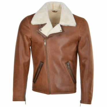 Side Zip Biker Sheepskin Pilot Jacket Tan: Franco