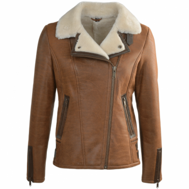 Side Zip Biker Sheepskin Pilot Jacket Whiskey/cream: Micaela