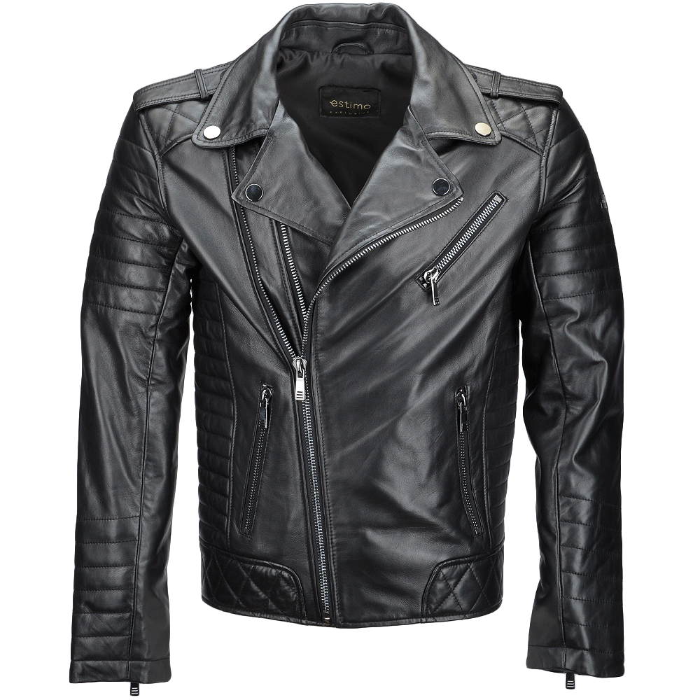 07dca3d498f4b Estimo Side Zip Ribbed Leather Biker Jacket Black/ napp: Constantine