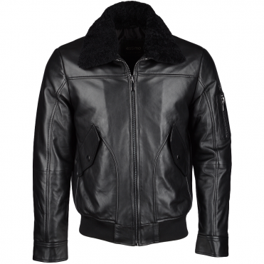 Vegetable Tanned Leather Jacket With Detachable Shearling Collar Black : Winchester
