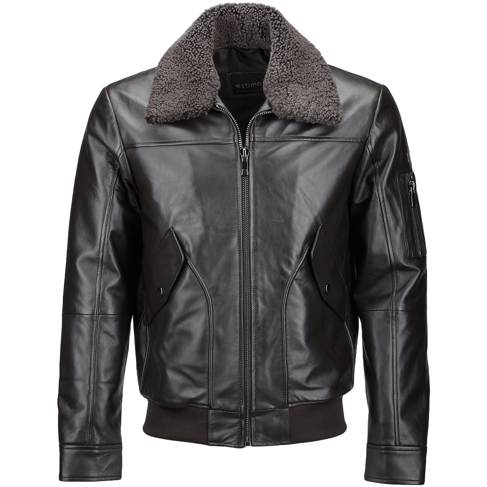 vegetable tanned leather jacket with detachable shearling collar brown   winchester