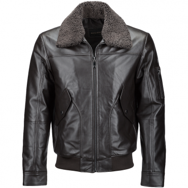 Vegetable Tanned Leather Jacket With Detachable Shearling Collar Brown : Winchester