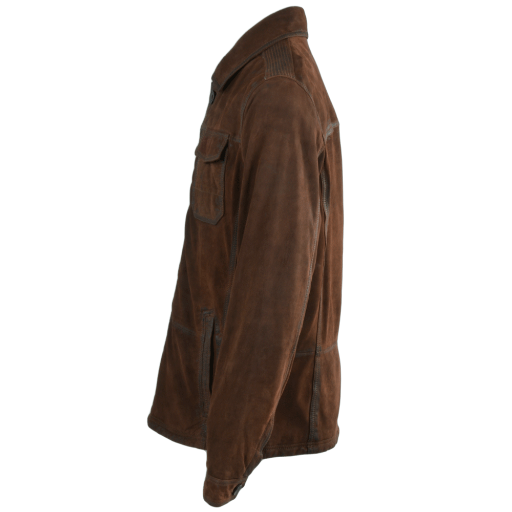 Hand buffed leather shirt jacket rust marco fenland from leather