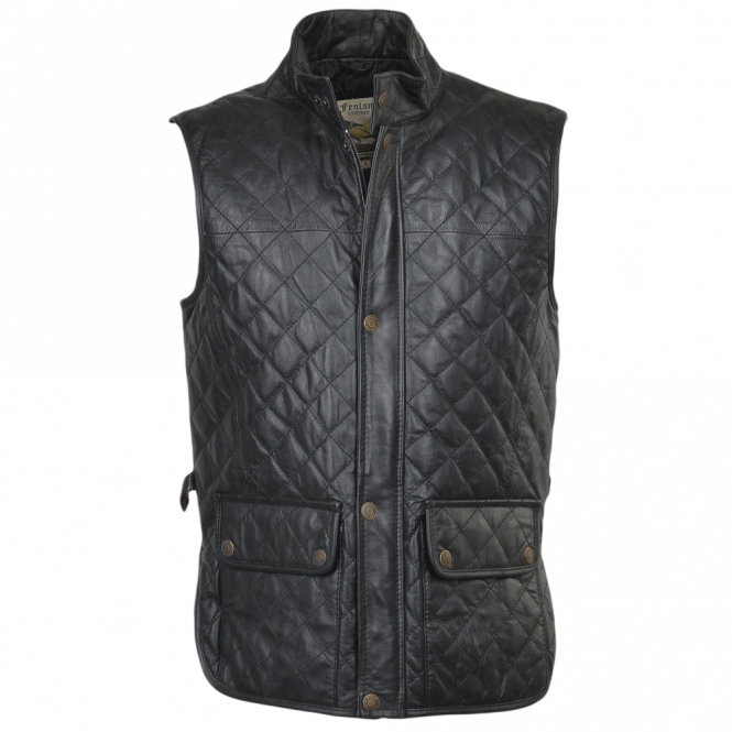 Mens Diamond Quilted Leather Gilet Black Hide Windsor