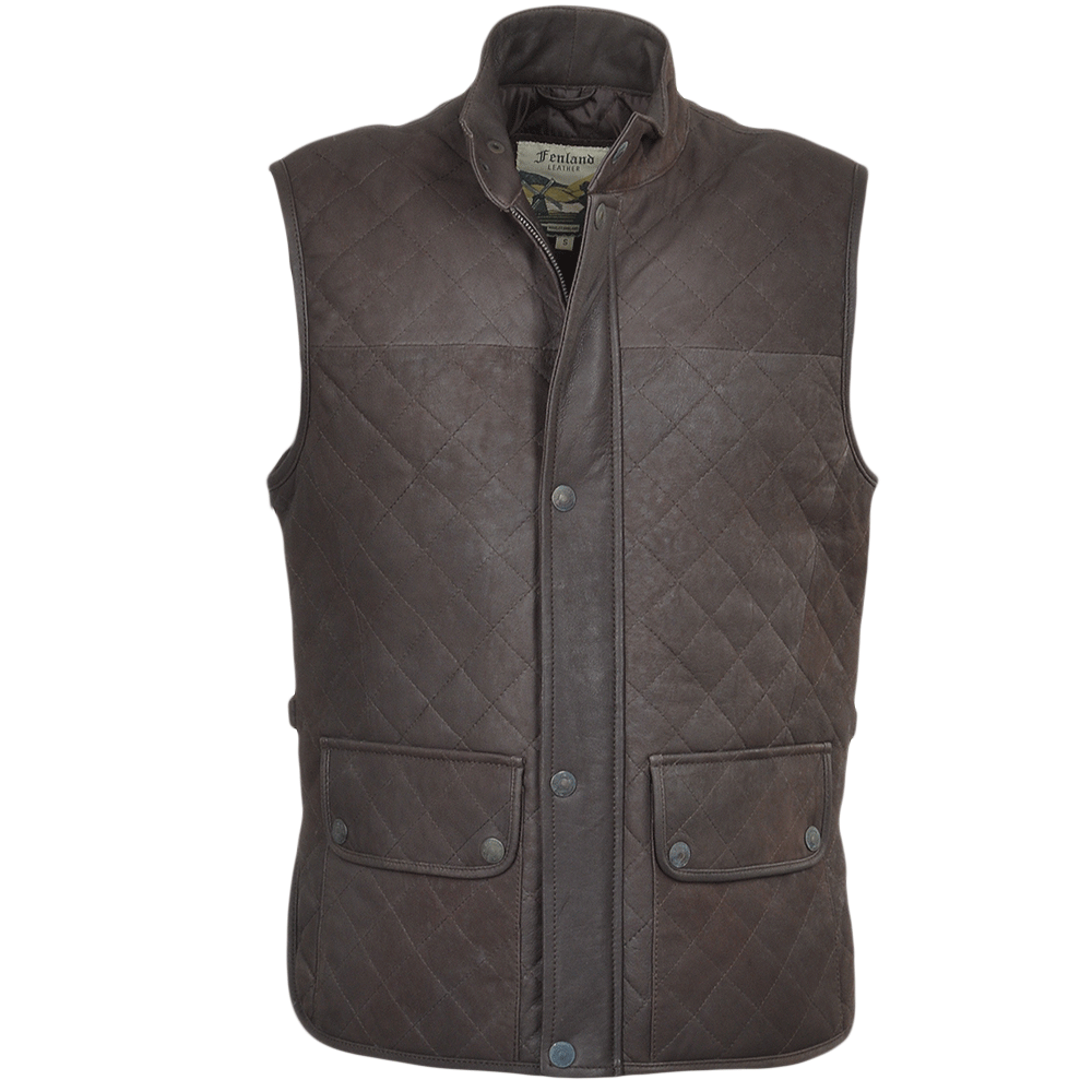 Mens Diamond Quilted Leather Gilet Brown Waxy Windsor