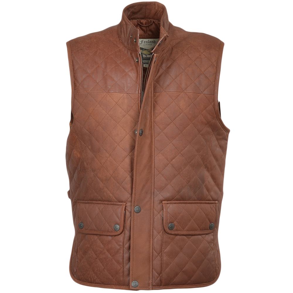 Mens Diamond Quilted Leather Gilet Tan Snu Windsor
