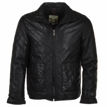 Diamond Quilted Leather Jacket Black : Gable