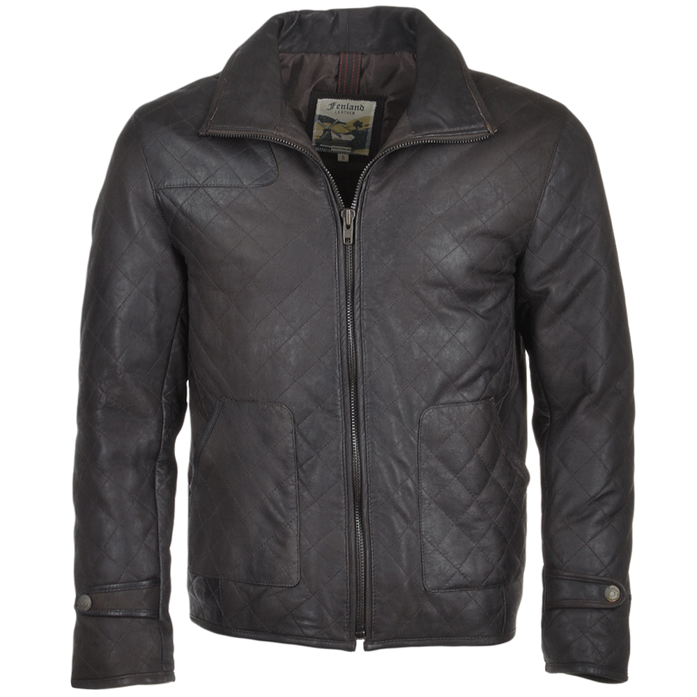 Mens Diamond Quilted Leather Jacket Gray Gable Mens Leather Jackets