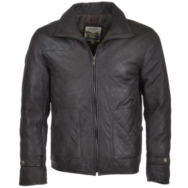 Diamond Quilted Leather Jacket Brown : Gable
