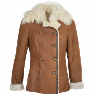 Double Breasted Full Grain Lambskin Shearling Coat Tan/cream: Nicole