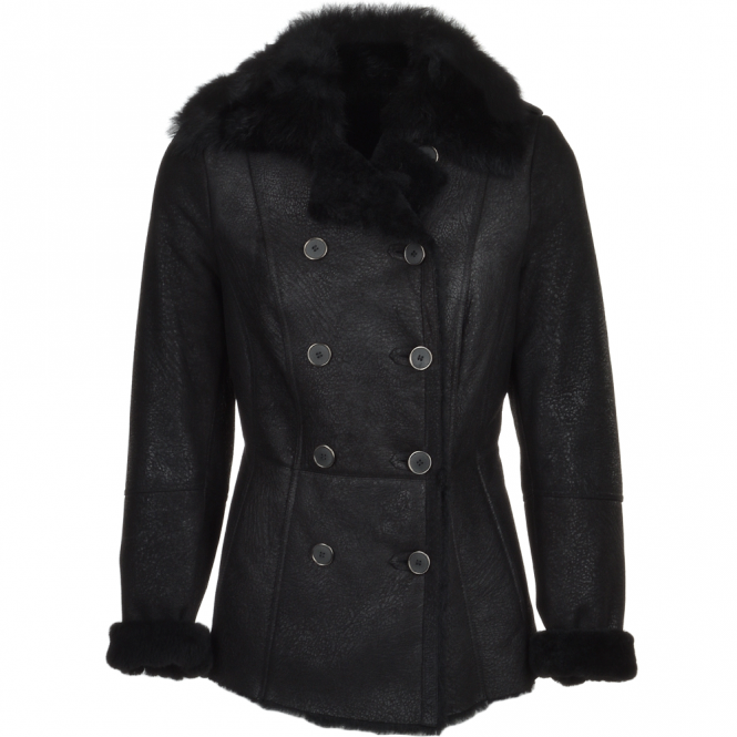 Fenland Double Breasted Full Grain Shearling Coat Black : Nicole