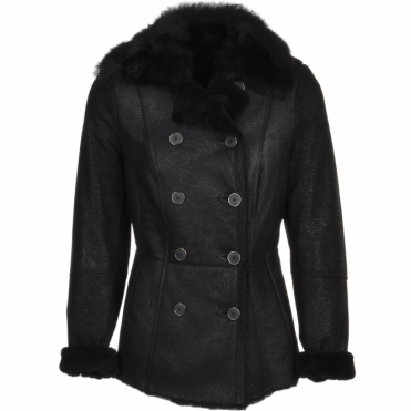 Double Breasted Full Grain Shearling Coat Black : Nicole