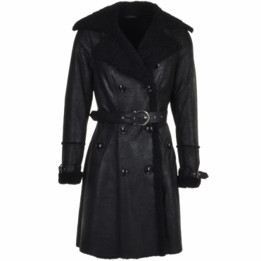 Double Breasted Full Grain Sheepskin Trench Coat Black : Francesca