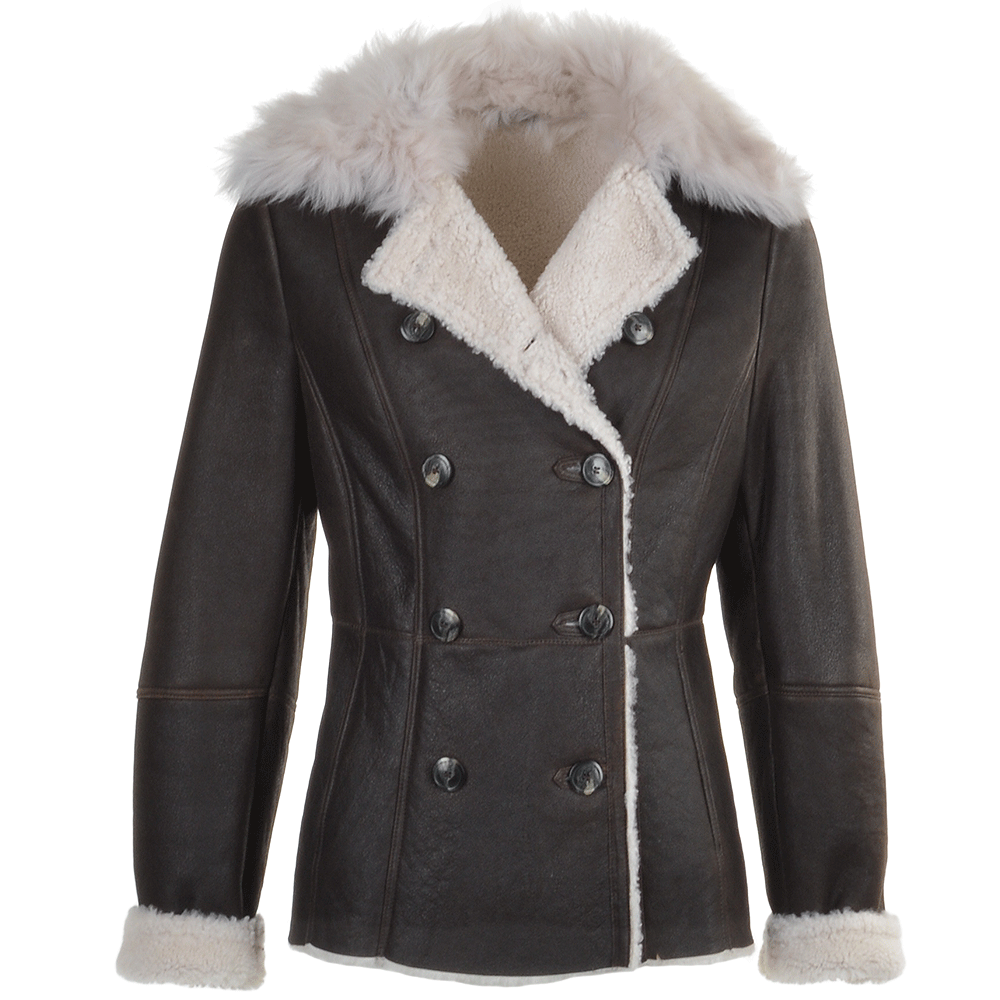 Womens Double Breasted Lambskin Shearling Coat Brown White