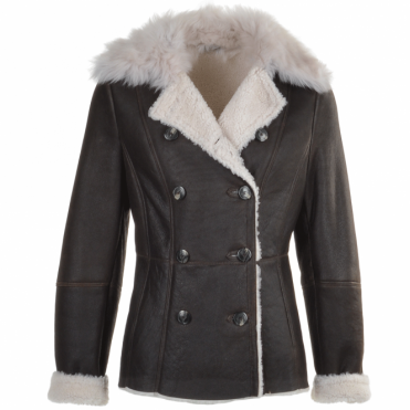 Double Breasted Lambskin Shearling Coat Brn/white : Nicole