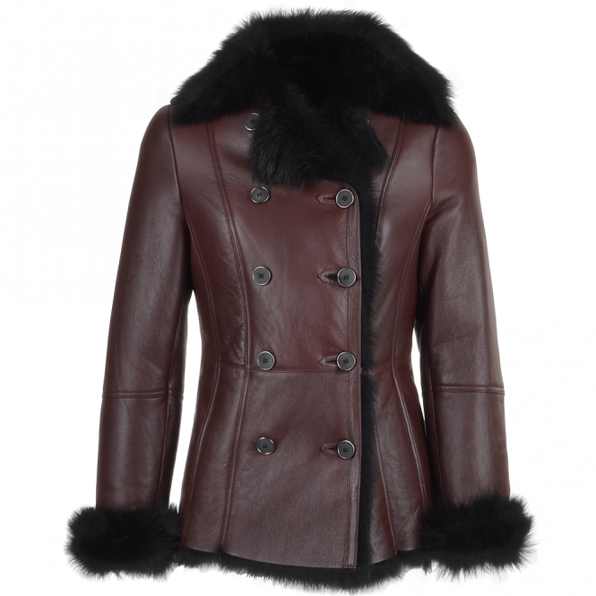 Fenland Double Breasted Lambskin Shearling Coat Burgundy/blk : Nicole