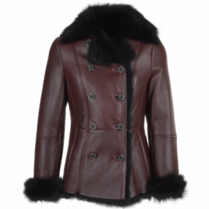 Double Breasted Lambskin Shearling Coat Burgundy/blk : Nicole