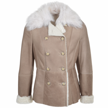 Double Breasted Lambskin Shearling Coat Stone/white : Nicole