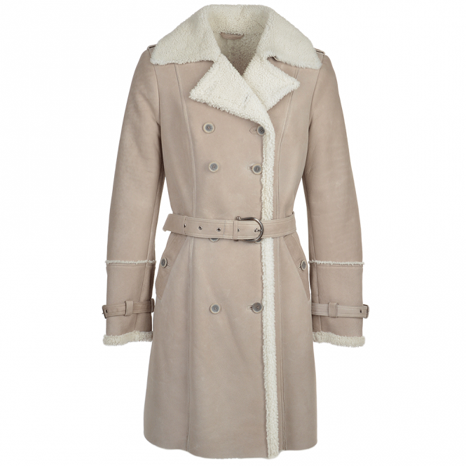Fenland Double Breasted Sheepskin Trench Coat Stone : Francesca