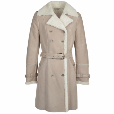 Double Breasted Sheepskin Trench Coat Stone : Francesca
