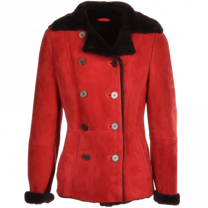 Fenland Double Breasted Suede Lambskin Shearling Coat Red/Brn : Nicole