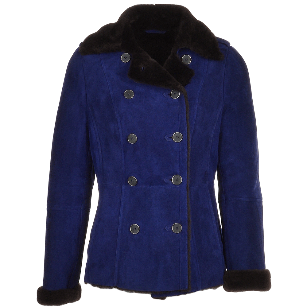 75bc14a2b95 Double Breasted Suede Lambskin Shearling Coat Royal Blue brown  Nicole