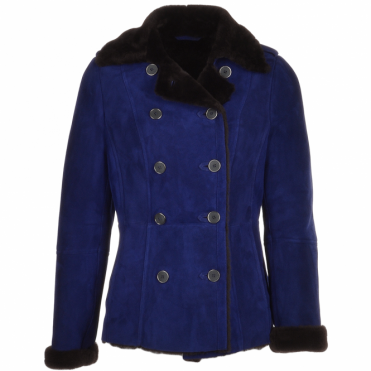 Double Breasted Suede Lambskin Shearling Coat Royal Blue/brn: Nicole