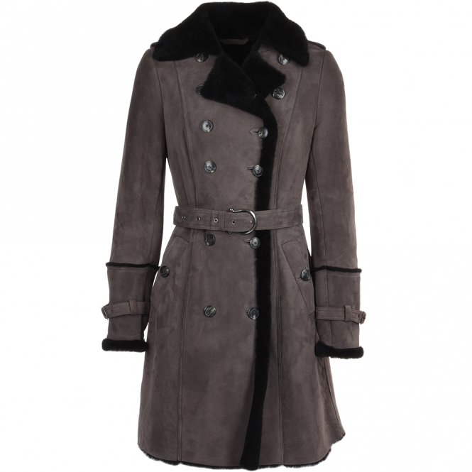 Fenland Double Breasted Suede Sheepskin Trench Coat Grey/blk : Francesca