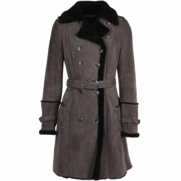 Double Breasted Suede Sheepskin Trench Coat Grey/blk : Francesca