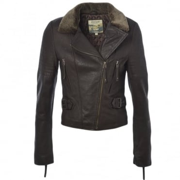Fur Leather Jacket Brown : Felicity