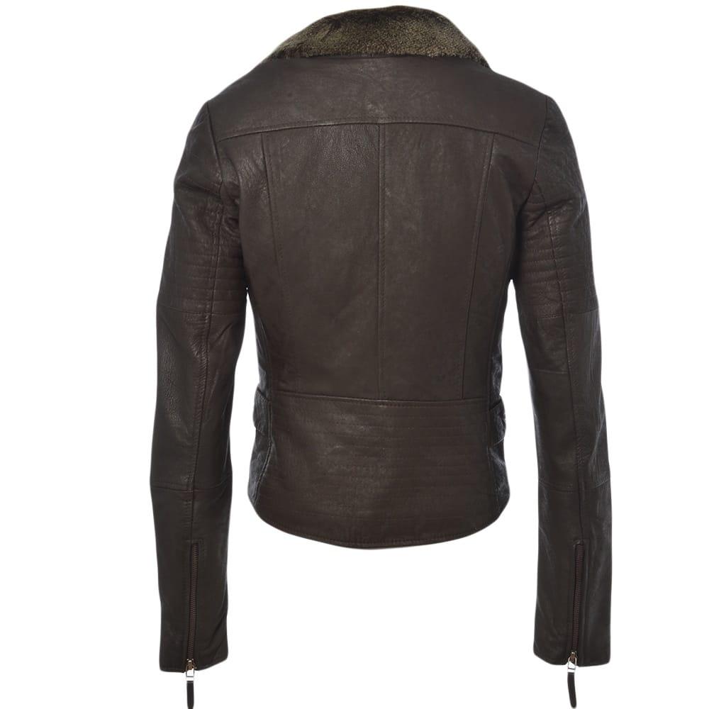 Furry leather jacket
