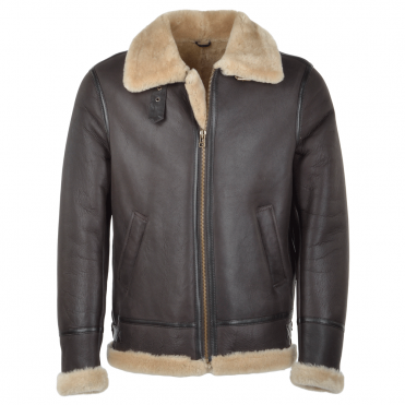 Hand Buffed Soft Sheepskin Pilot Jacket Brown/ Cream : Maxwell