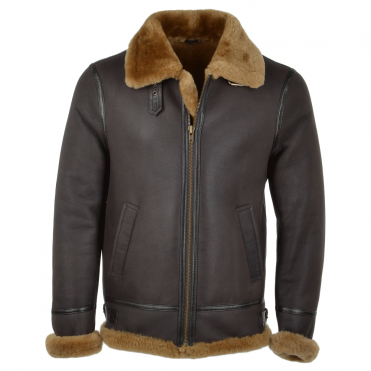 Hand Buffed Soft Sheepskin Pilot Jacket Brwon/ ginger : Maxwell