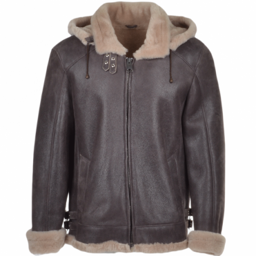 Hooded Sheepskin Jacket Brown : Fenorth