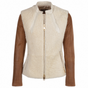 Leather And Shearling Jacket Tan/cream : Chiara