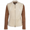 Fenland Leather And Shearling Jacket Tan/cream : Chiara