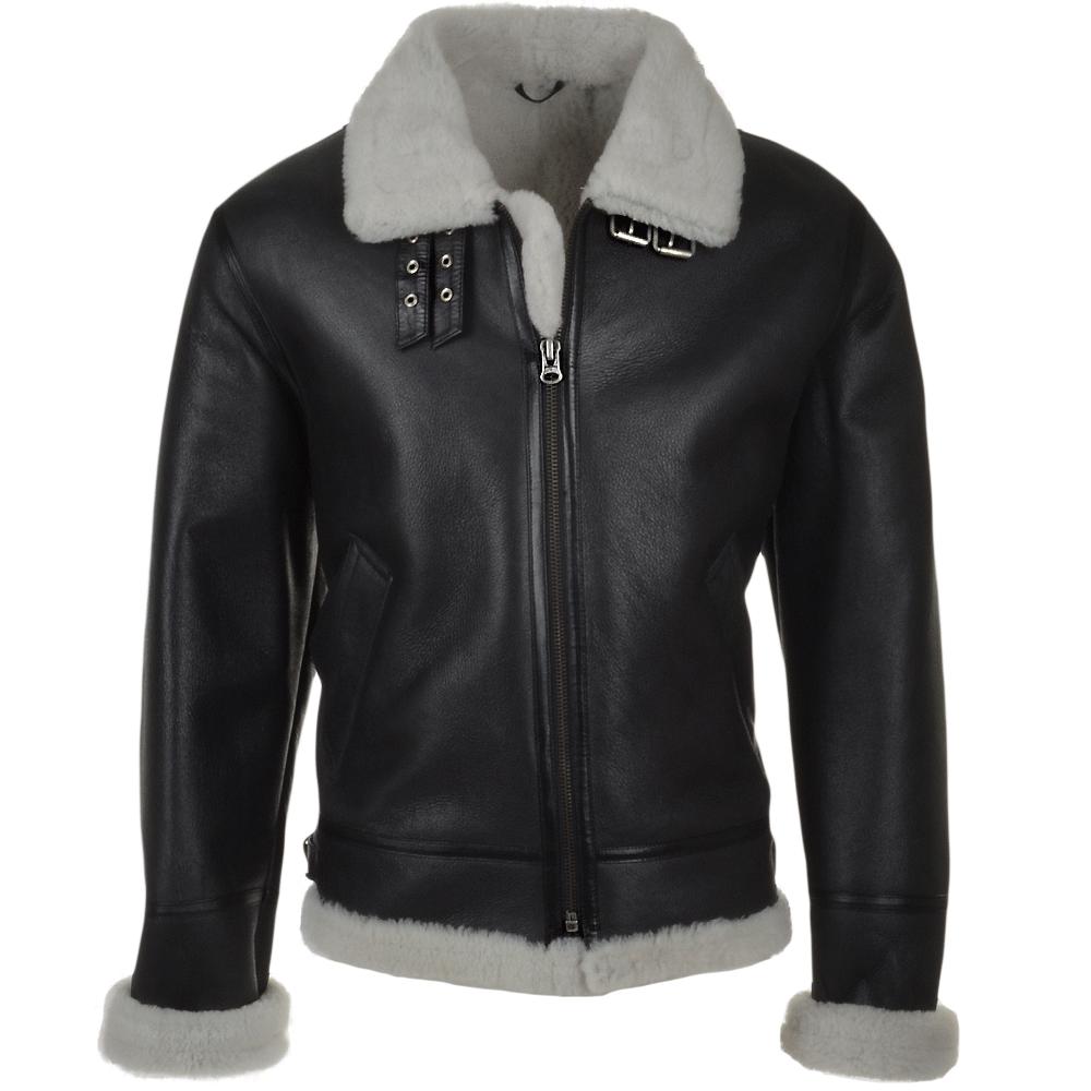 Mens Leather Flying Jacket Black Welkin Men S