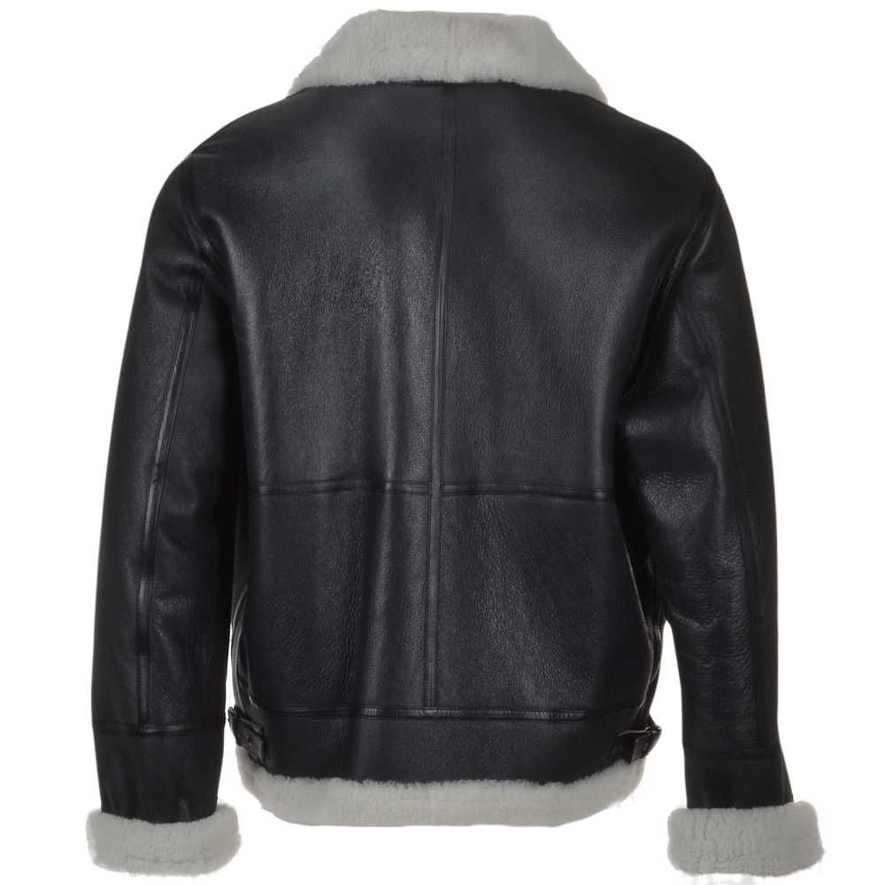 Black leather flying jacket