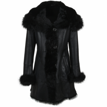 Shearling Hooded Toscana Tipped Coat Black : Anna