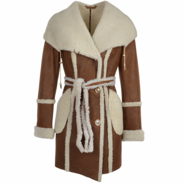 Womens Hooded Sheepskin Coat Tan: Larissa