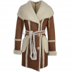 Fenland Womens Hooded Sheepskin Coat Tan: Larissa