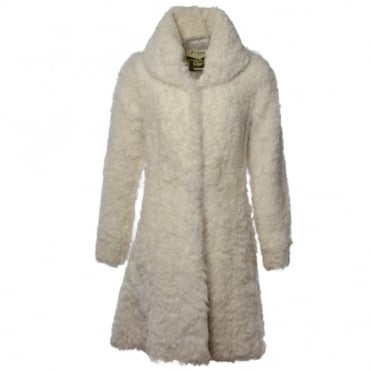 Womens Sheepskin Coat White : Fen Bear