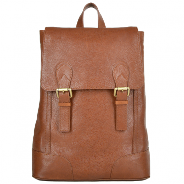 Unisex Full Grain Leather Backpack Tan : Cambridge
