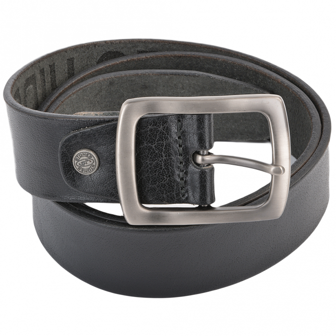 Stones Leather Belt Black : B4