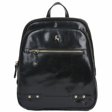 Buffalo Glazed Vegetable Tanned Leather Backpack Black/vt : 52235