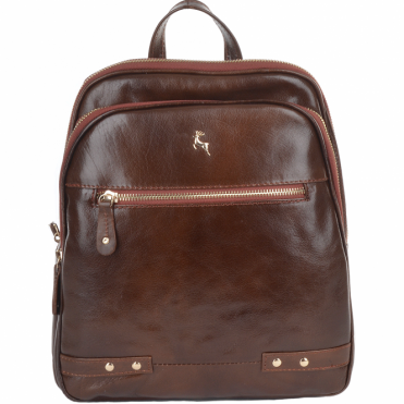 Buffalo Glazed Vegetable Tanned Leather Backpack Bridge/vt : 52235