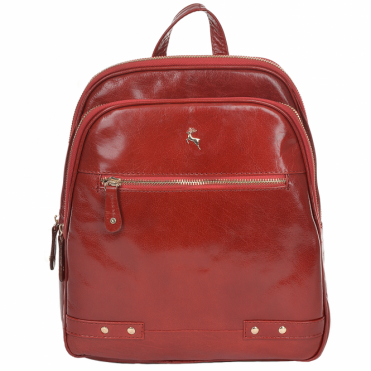 Buffalo Glazed Vegetable Tanned Leather Backpack Red/vt : 52235