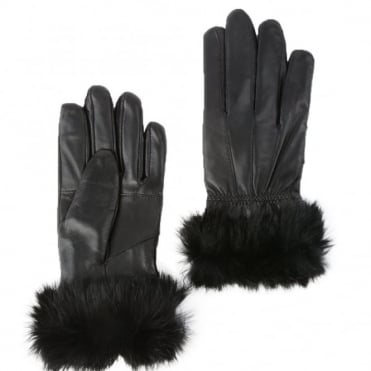Womens Fur Leather Gloves Black : Nc