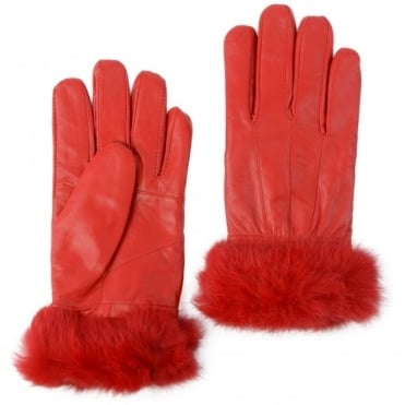 Womens Fur Leather Gloves Red : Nc