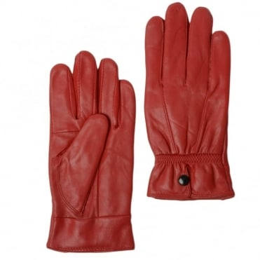 Womens Leather Gloves Red : Nc